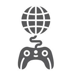 global game glyph icon play and world globe with vector image