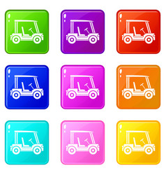 Golf club vehicle icons 9 set vector