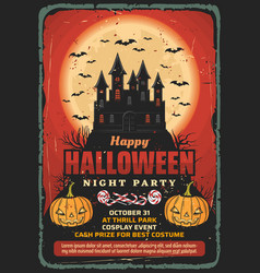 Halloween haunted house pumpkins and bats vector