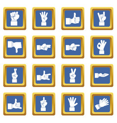 hand gesture icons set blue vector image
