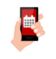Hand holding a smartphone with a calendar app vector