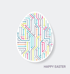 Happy easter card circuit board pattern vector