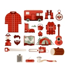 Hiker Equipment Objects Collection vector
