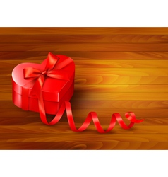 Holiday background with gift red box and red vector