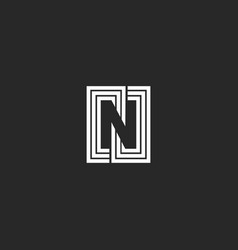 Letter n logo negative space monogram style vector