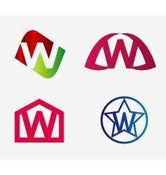 Letter w logo icon set vector