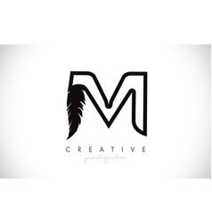M feather letter logo icon design with feather vector