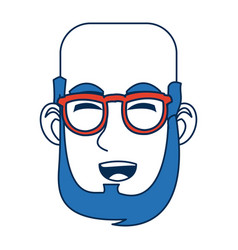 man face character smiling with blue hair and vector image
