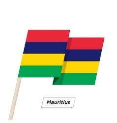 Mauritius Ribbon Waving Flag Isolated on White vector image