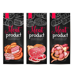 Meat products delicatessen banners sketch vector