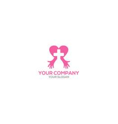 medical love hand logo design vector image
