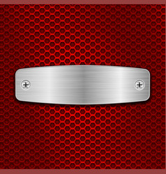 metal brushed plate on red perforated background vector image
