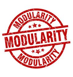 Modularity round red grunge stamp vector