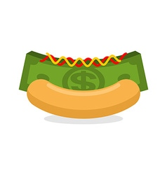 Money hot dog Bun and stack cash Financial fast vector image