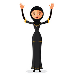 Muslim woman waving her hand vector
