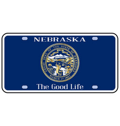 Nebraska license plate flag vector