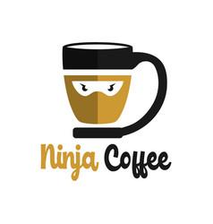 ninja coffee logo design vector image