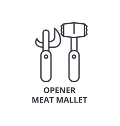 Opener meat mallet line icon outline sign linear vector