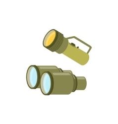 Pair Of Binoculars And A Lamp vector image