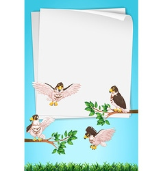 Paper template with eagles in background vector image