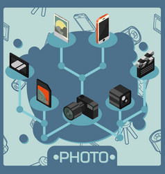photo color isometric concept vector image