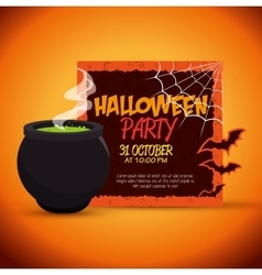 Poster halloween party with cauldron design vector