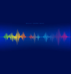 rainbow music sound wave line equalizer on blue vector image