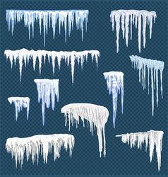 Realistic snow icicles icicle ice with snowcap on vector