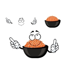 Red caviar bowl cartoon character vector
