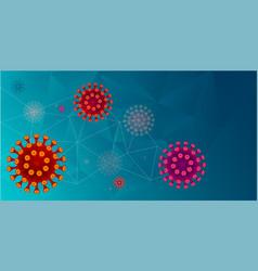 red corona virus cells on aqua mentrendy blue vector image