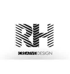 rh r h lines letter design with creative elegant vector image