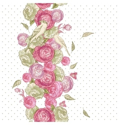Rose Seamless Background with Birds vector