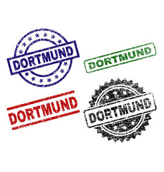 Scratched textured dortmund seal stamps vector