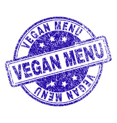 Scratched textured vegan menu stamp seal vector