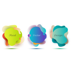 set abstract fluid gradient color shape badges vector image