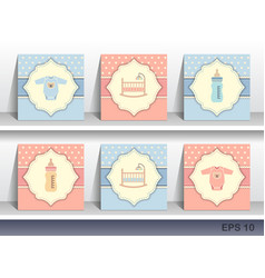 set bainvitation cards vector image