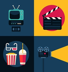 Set of Movie Concept Flat Style TV set Movie vector