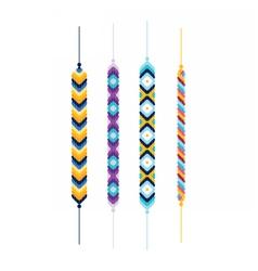 Set of multicolor friendship hippie bracelets vector image
