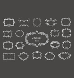 Set of silver vintage floral frames and monograms vector