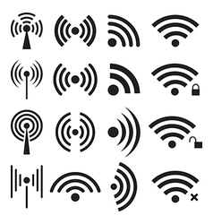 Set of wireless and wifi icons vector