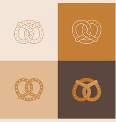 set pretzel icon vector image