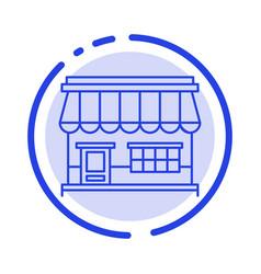 shop online market store building blue dotted vector image