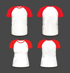 Short raglan sleeve realistic volumetric t-shirts vector