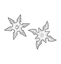 shuriken ninja stars sketch vector image