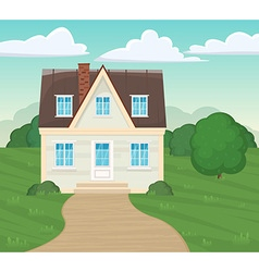 Suburban residential facade house of a cartoon vector