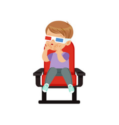 Sweet little boy in 3d glasses sitting on a red vector