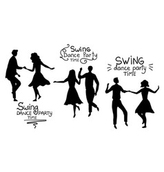 Swind dance party time concept black silhouettes vector