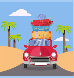 Treveling red car with pile luggage bags on vector