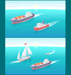 Water transport cargo boat and sailing vector