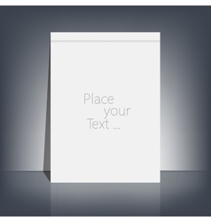 White blank stationary near the black wall with vector image